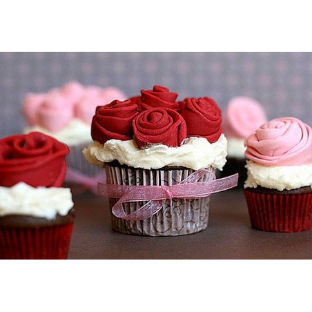 Chocolate rose and tile with LOVE inscription